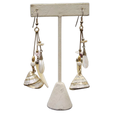 Miriam Haskell Style Long Dangle of MOP Shells Earrings 3 1/2 inches