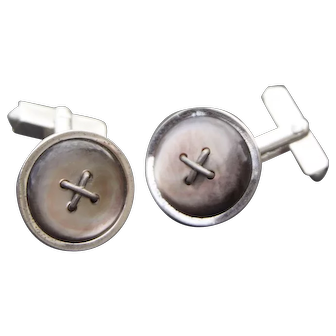 Beautiful  1950's Sterling Silver MOP Cufflinks Button Style by Swank