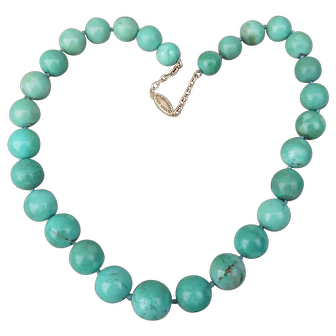 Vintage Chinese Large Turquoise Beads Necklace 14K Clasp and Chain