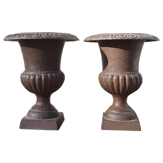 Lovely Pair Cast Iron Footed Planters 9 inches Tall