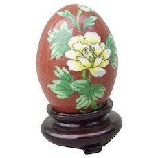 Vintage Chinese Cloisonne Cloisonné Egg on Stand Rusty Red with Peonies