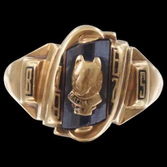 C1967 10K Yellow Gold Josten Class Ring Battlefield High School VA Bobcat