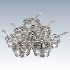 Set of 8 Sterling Silver Clear Crystal Salts with Spoons by Webster Co.