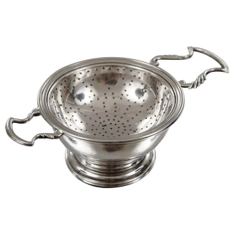 Sterling Silver Double Handle Tea Strainer with Stand by Currier and Roby C1940s
