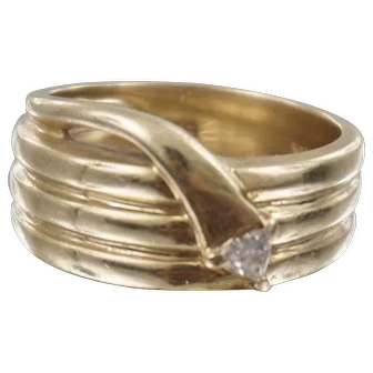 Abstract Coiled Snake Ring 14K Yellow Gold with Trillion Cut Diamond 0.25 Carat Size 6