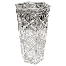 "Tiffany and Co. Large Crystal Vase 10"" Bamboo Pattern"