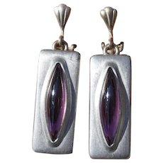 Mid Century Jorgen Jensen Danish Modern Pewter & Amethyst Purple Glass Clip Dangle Earrings