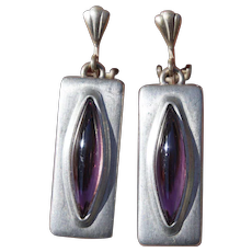 Mid Century Jorgen Jensen Danish Modern Pewter & Amethyst Purple Glass Clip Dangle Earrings