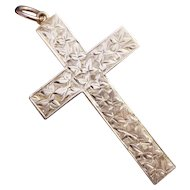 C1934 Birmingham England Engraved Foliage 9 CT Rose Gold Cross Pendant or Charm