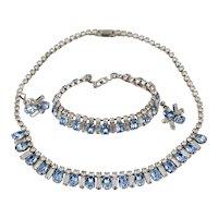 Vintage Aquamarine Rhinestone Necklace Bracelet Earrings Full Parure