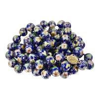 Super Long 40 inches Chinese Vintage Royal Blue Cloisonné Beaded Necklace Cloisonne