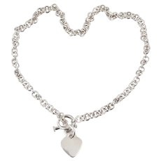 Sterling Silver Rolo Link Toggle Necklace with Heart Charm 16 inches