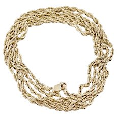 Super Long 14K Yellow Gold Twisted Rope Necklace 35 inches 10.0 grams