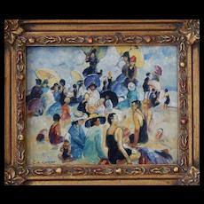 Oil on Board Colin Campbell Cooper (1856 - 1937) American Impressionist Beach Scene