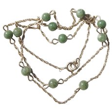 14K Yellow Gold 16 inches Green Marbled Spinach Jade Beads Necklace Twisted Rope Chain