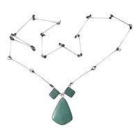 Hand Crafted Sterling silver Aventurine Pendant Necklace 30 inches