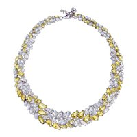 Amazing Full Collar Clear Yellow Rhinestone Necklace 17 - 19 inches