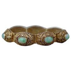 Art Deco Chinese Export Jadeite Jade Sterling Silver Vermeil Filigree Bracelet