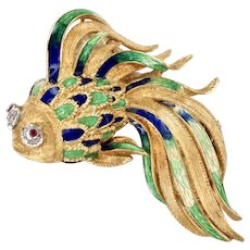 18K Yellow Gold Enamel Gold Fish Pin Brooch with Ruby and Diamond Eyes 20 Grams