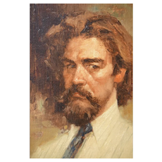 Small Oil Painting on Canvas Portrait of a Gentlemen in Striped Shirt and Tie