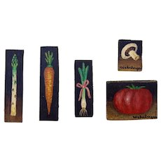 Set of Five Miniature Oil Painting on Woodblocks Vegetables Kitchen Decor Signed