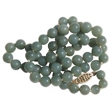 Translucent Green Jadeite Jade Beads Necklace 14K Clasp 22 inches
