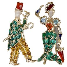 Pair Gentleman and Lady Green Tourmaline Zircon Multi-gem Brooches Pins 14K Moonstone Faces