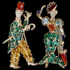 Pair Gentleman and Lady Green Tourmaline Zircon Multi-gem Brooch Pin 14K Moonstone Faces