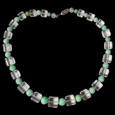 Art Deco Natural Jadeite Jade Rock Crystal Cube Necklace 15 inches