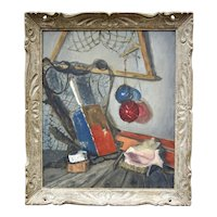 Vintage Oil on Canvas R F Levin Fishing Equipment Shabby Chick Still Life Shells, Floats, Lobster Buoy and Fishing Nets