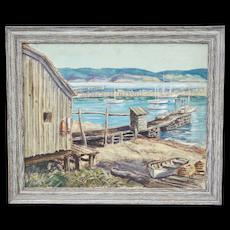 Karl Ramet Oil Painting Seaside Fishing Cove Cottage with Dock