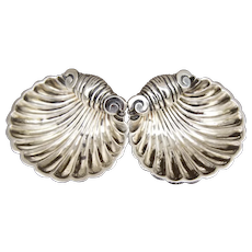 Set 2 Sterling Silver English Chester Shell Footed Open Master Salts by Florence Warden