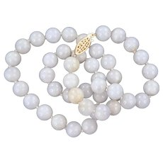 Natural Light Lavender Jadeite Jade Beaded Necklace 14K Yellow Gold Clasp