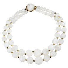C1950s Mid Century Double Strand Clear and White Lucite Marbled Beads Necklace