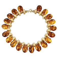 Mid Century Egyptian Revival Gold tone Repousse Tortoise Shell Lucite Necklace Collar Bib Choker