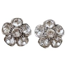 Georgian Silver Gold Close Back Sparkling Paste Earrings Flower Pedals
