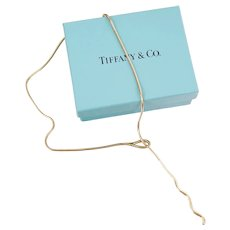 Vintage Tiffany & Co 18K Yellow Gold Snake Chain Lariat Toggle Necklace