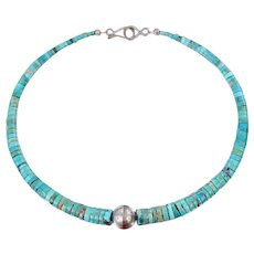 Kingman Turquoise Flat Disk Beaded Southwestern Necklace Sterling Beads Clasp