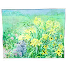 """Hilda Strait-Caldwell (1915-2012) The Garden Large Acrylic on Canvas Painting 30"""" x 24"""" Cat in Flowers"""