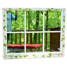 Shabby Chick Mirror Made from Old Six Pane Window New England Cottage Colonial Farm House Hand Painted