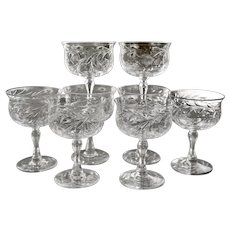Set of 8 Webb Corbett England Sherbet Striking Wheel Cut Blown Crystal Goblets Wine Coupe Cocktail Glasses