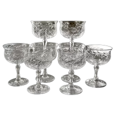 Set of 8 Webb Corbett England Sherbet Striking Wheel Cut Blown Crystal Goblets Wine Cocktail Margarita