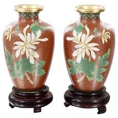 Pair Quality Vintage Chinese Cloisonné Vases Chrysanthemum Flowers