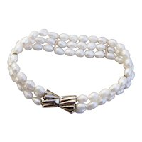 Three Strand Fresh Water Cultured Pearl Bracelet with Sterling Silver Vermeil Clasp
