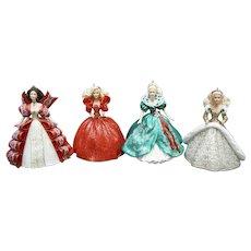 Early set of 4 Hallmark Keepsake Ornaments - Holiday Barbie Collectors Series