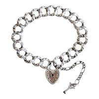 Victorian Sterling Silver Heart Padlock Bracelet with Original Key W. & S. Blackinton 8.5 Inches