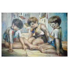 "Jose Montanes (1918 - 1998) Oil on Canvas Children At Play Spanish Street Scene 39"" X 31"""