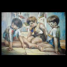 "Jose Montanes (1918 - 1998) Oil on Canvas Children At Play Spanish Street Scene 39"" X 31"""