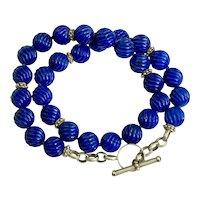 Amazing Carved Lapis Lazuli Beads Designer 14K Yellow Gold Toggle Necklace
