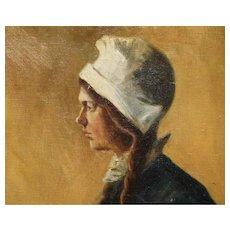 "George Loftus Noyes (1854-1954) Large Oil Painting on Canvas Portrait of a Dutch Lady 35"" X 27"""
